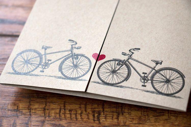 Photo of Kundenspezifische Fahrrad-themenorientierte Hochzeitseinladung, Torfalte – Alex T …