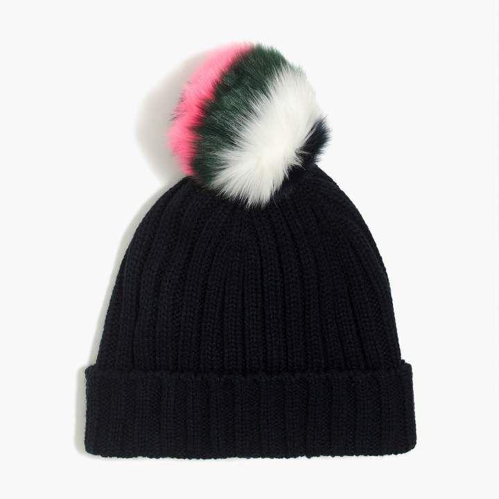 1f7b11d018deb Knit hat with multicolor faux-fur pom-pom   FactoryWomen Gloves ...