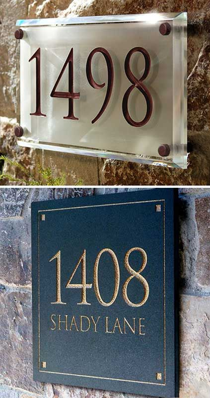 Very Unique And Classy Address Plaques Engraved In Crystal And