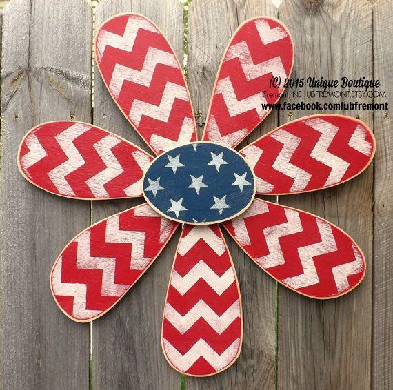 "BIG 22"" wood Daisy FLOWER Summer Americana 4th of July Flag Patriotic Chevron Stars Door Hanger Decor Hanging art wooden sign red white blue"