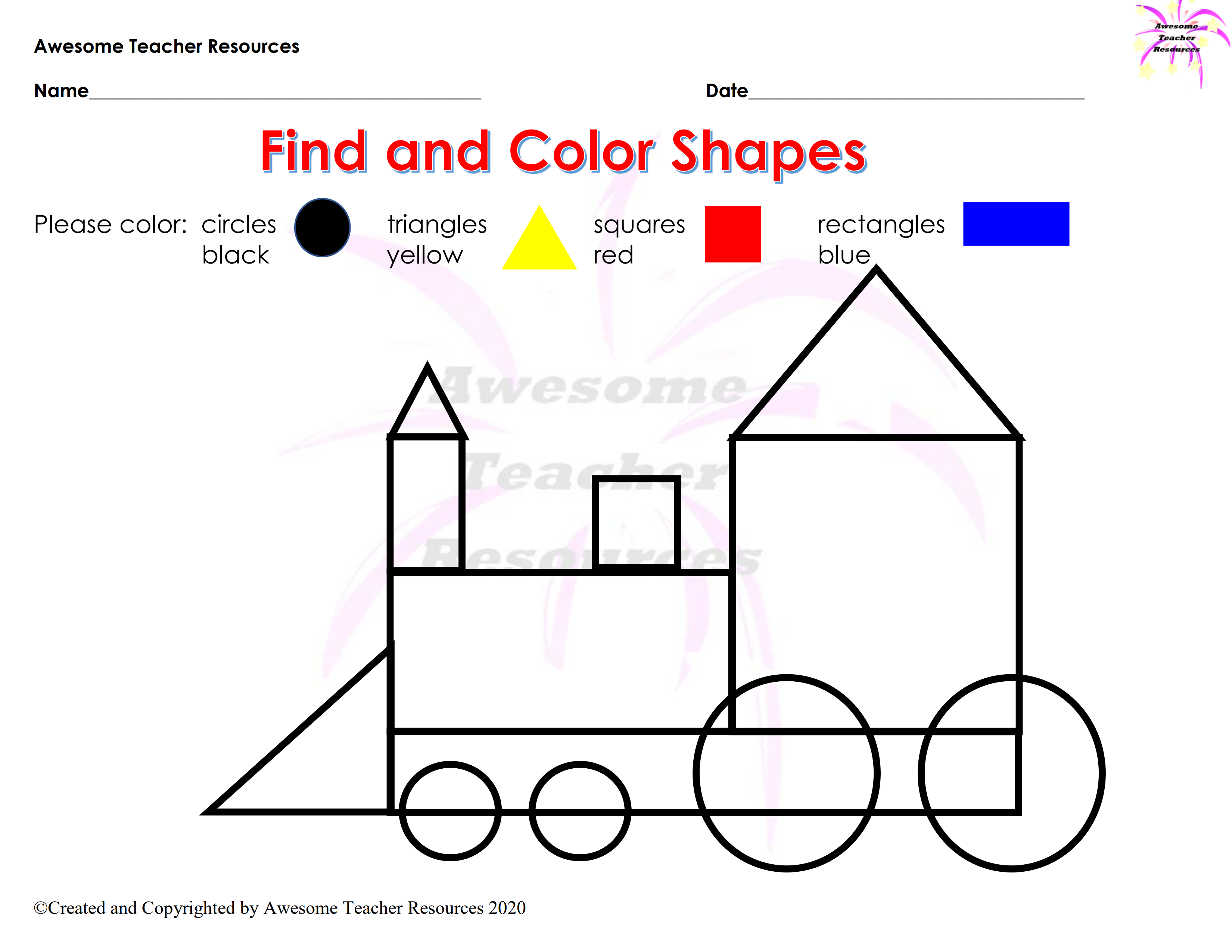 Geometric Shapes Coloring Pages Shape Worksheets For Preschool Shapes For Kids Shape Coloring Pages [ 1754 x 1239 Pixel ]