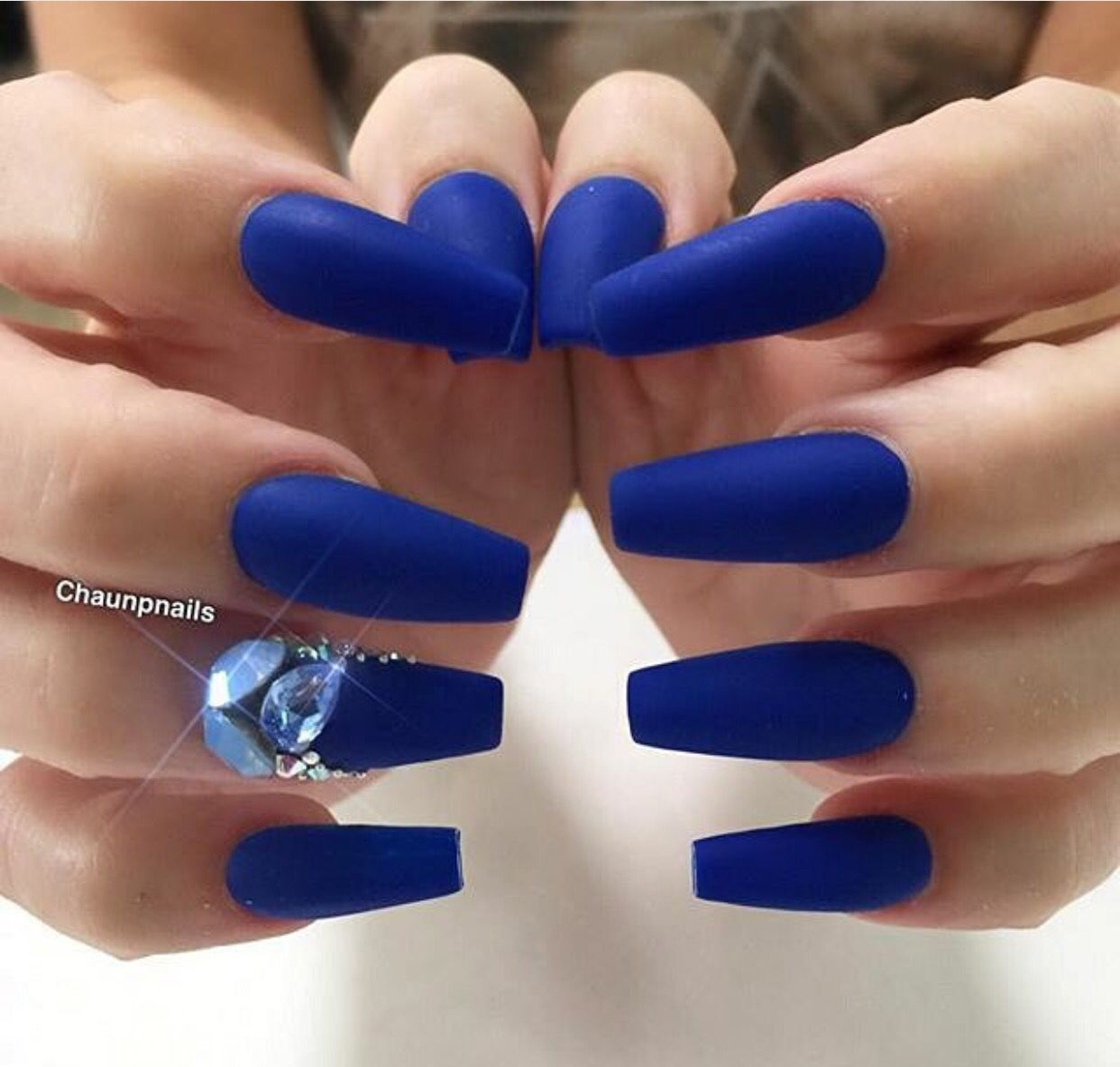 Matte Royal Blue With Gems Square Coffin Nails Nails Nail Art