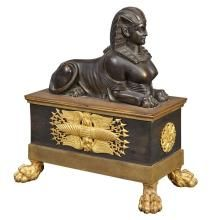Empire Style Gilt and Patinated-Bronze Chenet 19th Century