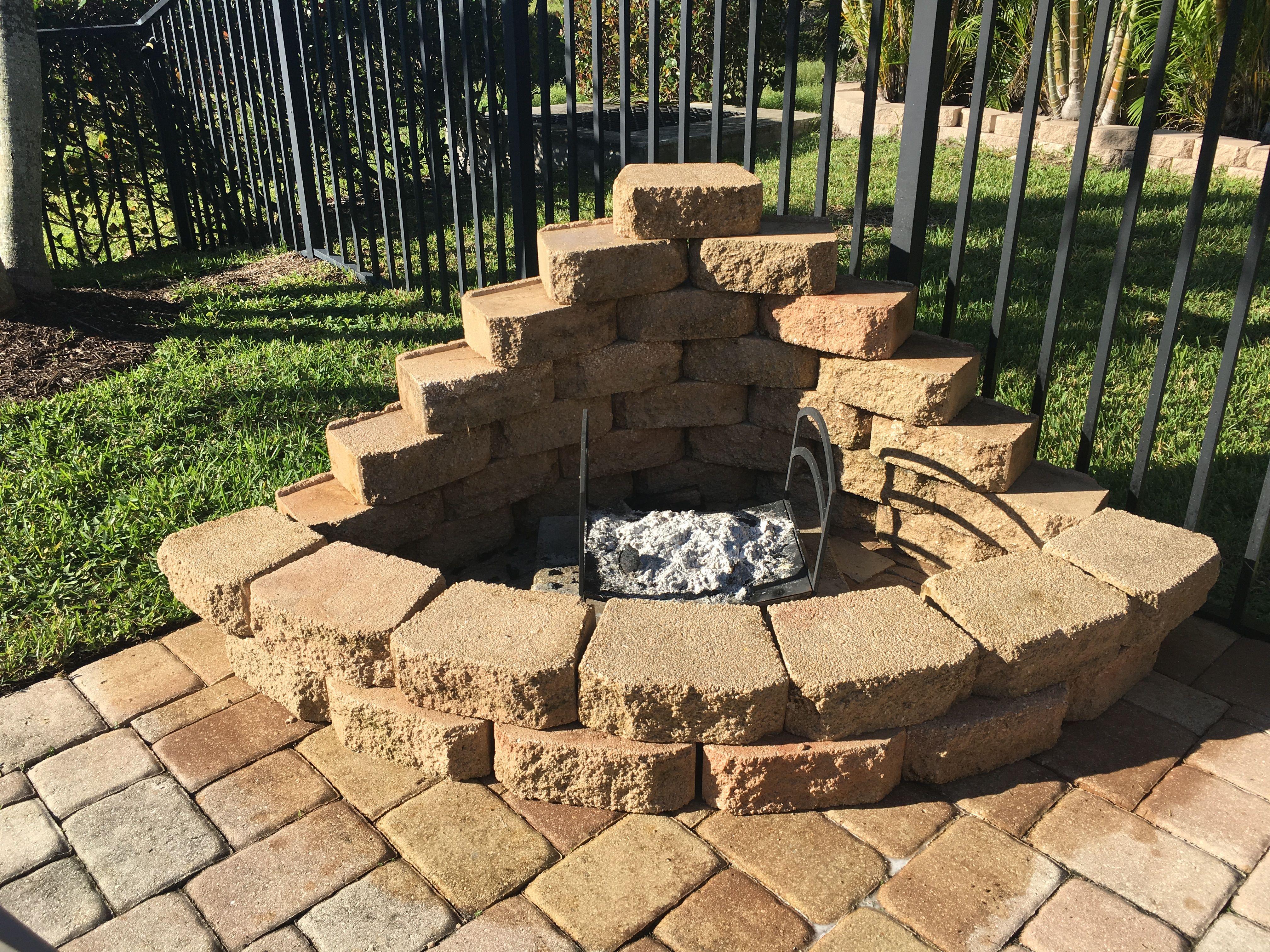DIY corner fire pit. I used leftover landscape blocks and made a ...