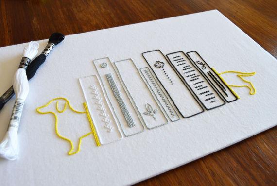 Bookshelf Hand Embroidery Pattern Free Printable Modern