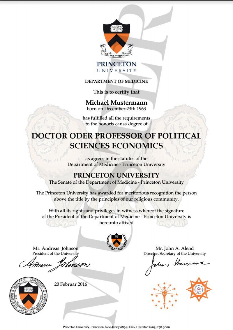 Doktortitel kaufen Princeton DOCTOR, PROFESSOR HONOR