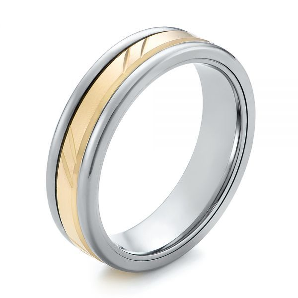 Grey Silver Tungsten and 14k Yellow Gold Detailed Men s Wedding Ring ... e6841f5510fd