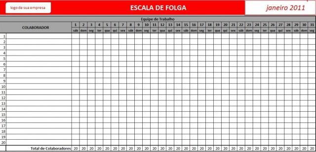 Planilha De Folgas Em Excel Escala De Funcionários