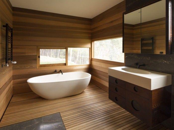 Badezimmer Holz ~ Wandgestaltung ideen badezimmer holz natürlich modern gemütlich