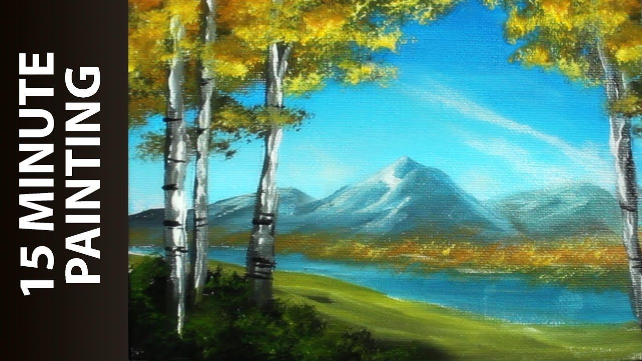 Painting The Birch Tree Mountains With Acrylics In Under 15 Minutes Landscape Painting Tutorial Painting Landscape Paintings Acrylic