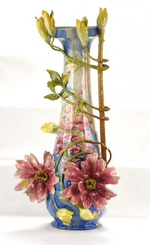 Massier Style Large Vase With Flowers Losses And On Pinterest