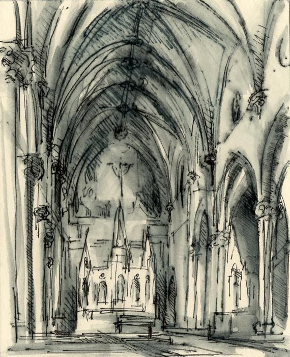 Catholic Wedding Gift Custom Wedding Church Ink Drawing 5x7
