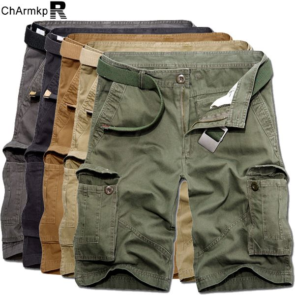 d08fcf6f6b025 ChArmkpR Plus Size 30-46 Mens Casual Cotton Solid Color Big Pockets Loose  Cargo Military Shorts