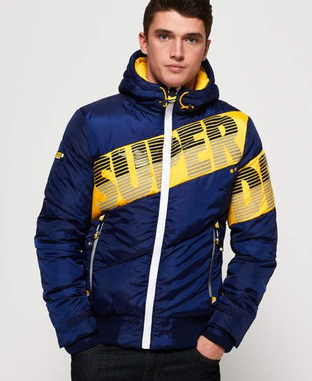 Superdry Navy Blue Printed Hooded Sweat Jacket