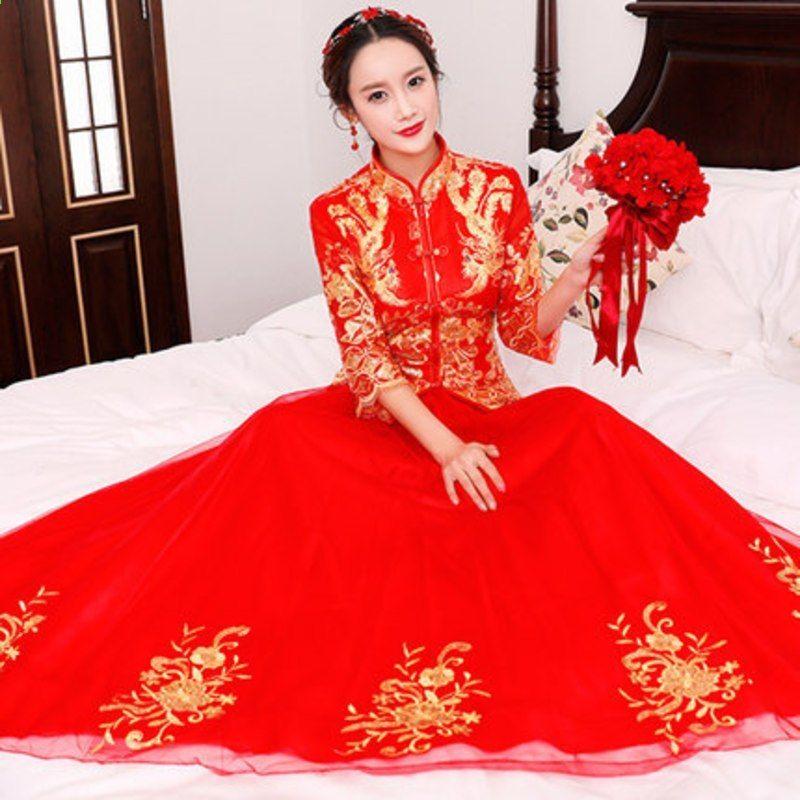 5ba36456c Fashion 2018 Red Cheongsam Long Qipao Chinese Traditional Wedding Dress  Suknie w stylu orientalnym Bride Tradycje Calipso. Moda 2018 Vermelho  Cheongsam ...