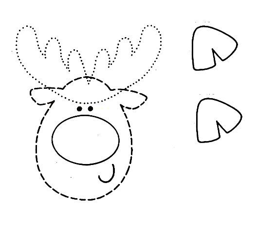 Схема, Трафарет, Шаблон - Олень Рудольф в технике Бумажных ШАРОВ - Поделка, Игрушка на елку, Подарок своими руками к Рождеству, Новому году