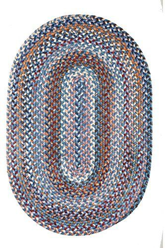 Blue Rug Braided Textured Room-Sized 10' X 13' Casual Reversible Thick Wool Carpet