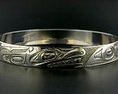 Northwest Coast Native Bangle, Sterling Hand-Engraved Killer Whale Design