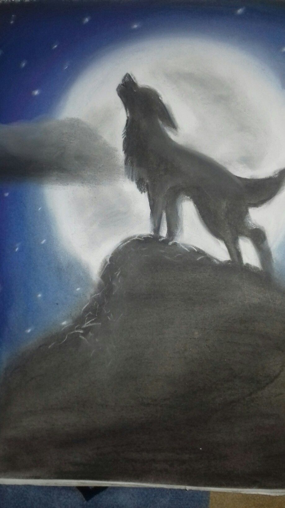 Lobo Aullando A La Luna Dibujo A Gis Dibujos Pinterest