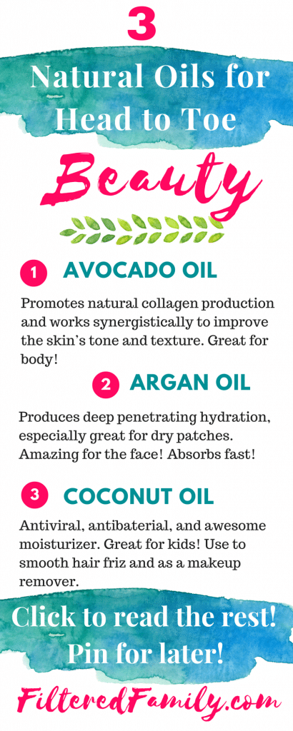 I love these remedies! They've made such a big difference and the best part is that I'm avoiding nasty toxins. Regular beauty products can disrupt hormones and have known cancer causers. These are so much better and leave me gorgeous! -- Infographic -3 Natural Oils I Use for Head to Toe Beauty | via FilteredFamily.com