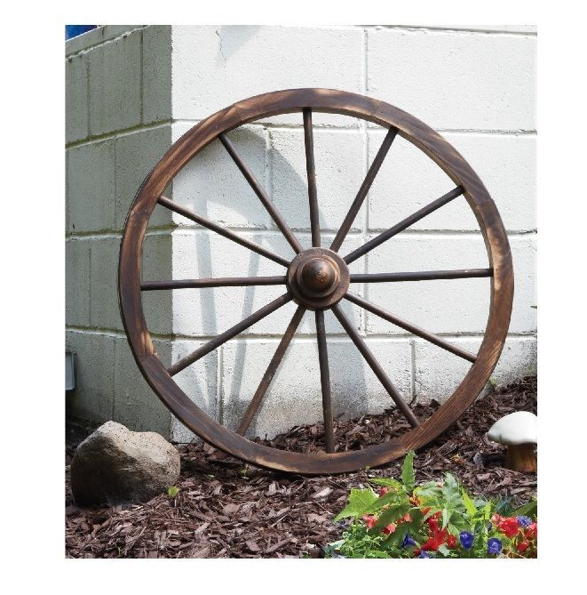 Wooden Wagon Wheel 30 In Rustic Outdoor Decor Home Patio Yard Garden  Decoration