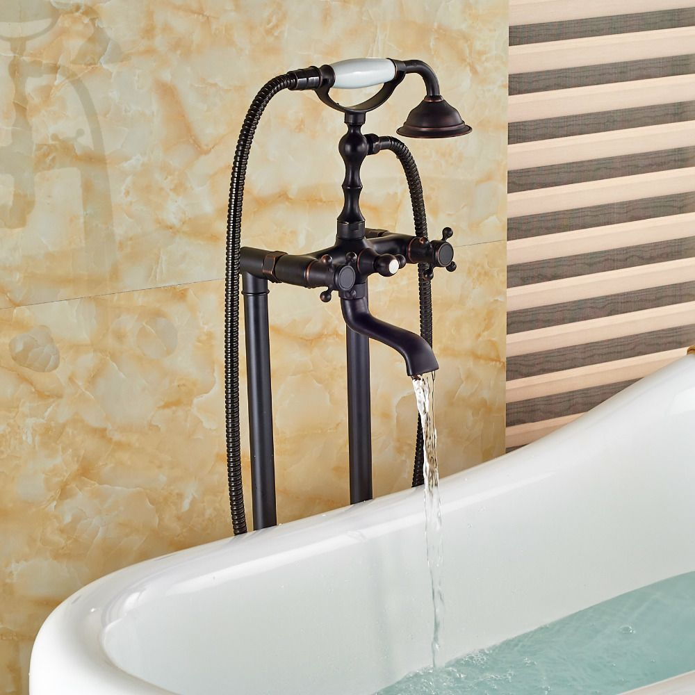 Oil Rubbed Bronze Bathroom Floor Mounted Tub Filler W/ Ceramic Hand ...