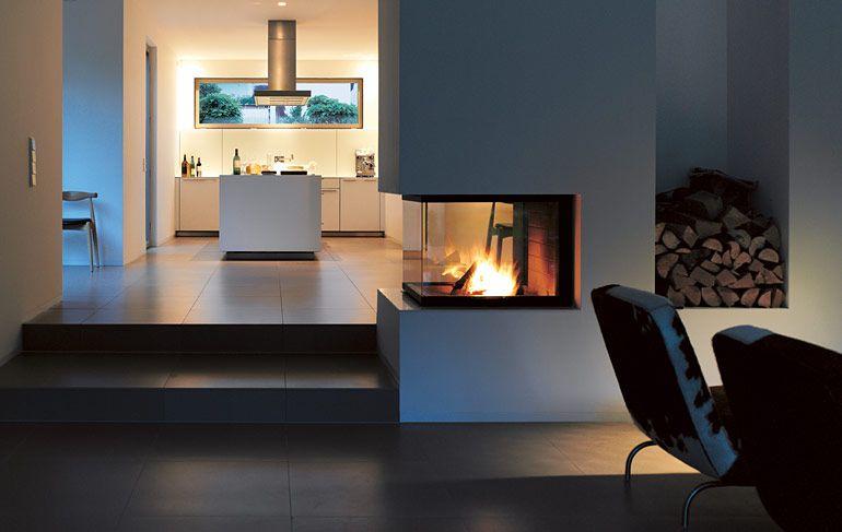 Küche mit Kochinsel, offenes Wohnzimmer mit zentralem Kamin! Ideen - ideen offene kuche wohnzimmer