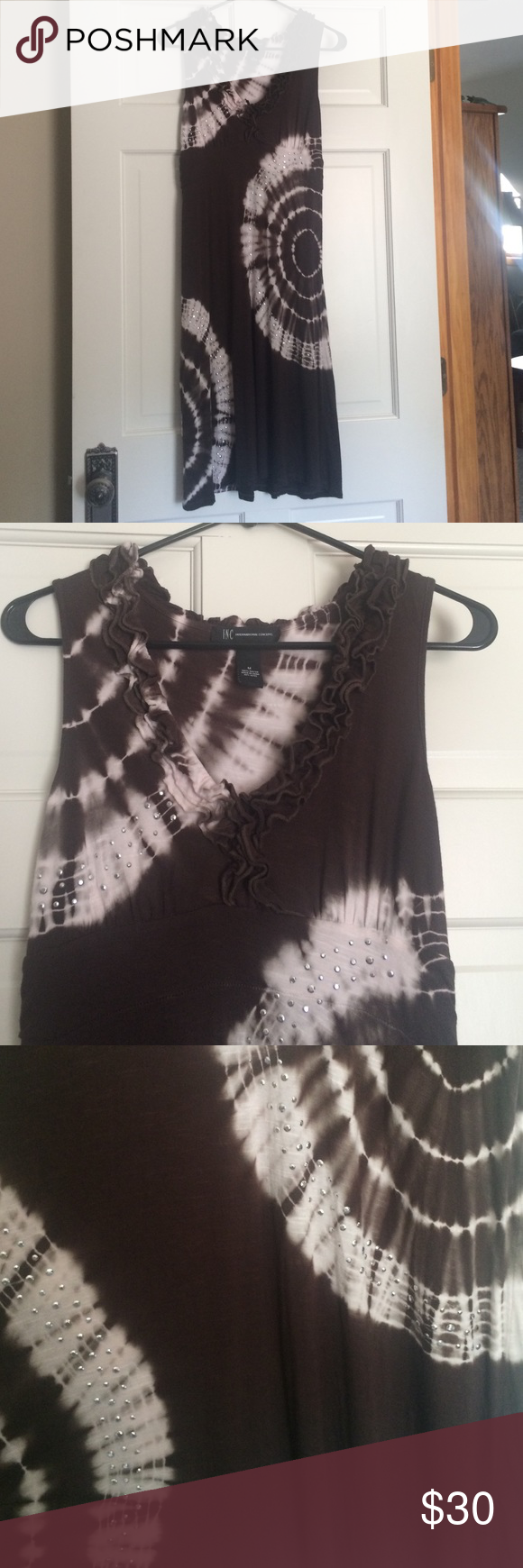 Tie Dye Sundress Tie dye dress with ruffled accents and rhinestone details  No trades or other apps. Make me a reasonable offer! 🌿🌤💞 INC International Concepts Dresses Midi