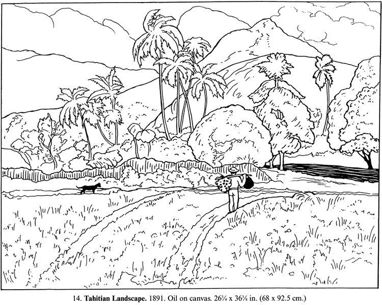 Gauguin Tahitian Landscape Coloring Page Jpg 750 600 Coloring Pages Colouring Pages Colorful Landscape