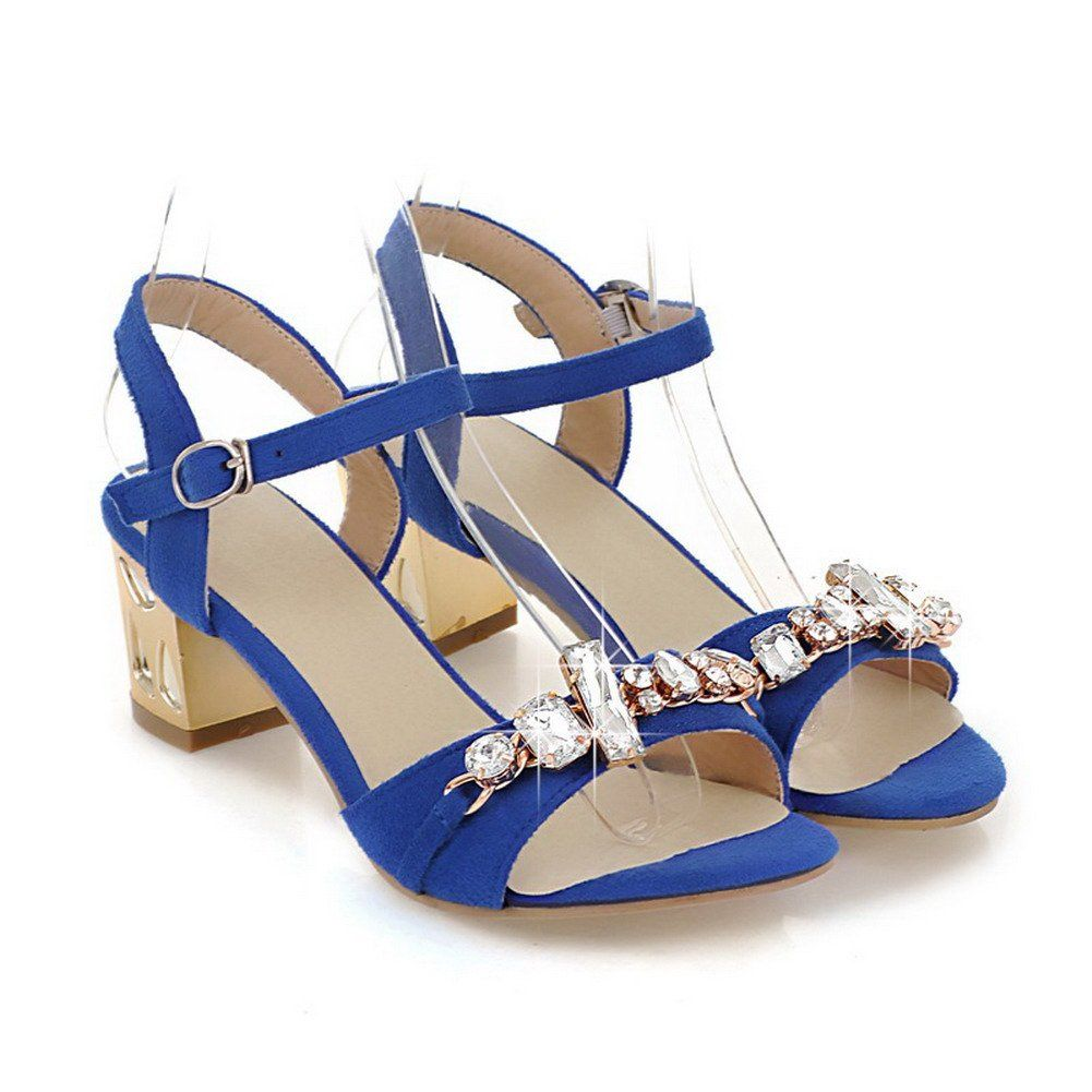 653c6640e117 AmoonyFashion Womens Open Toe Kitten Heel Chunky Heels PU Frosted Solid  Sandals with Glass Diamond Blue 7 BM US   See this great product.