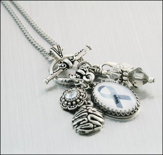 Brain Cancer Awareness Charm Necklace Brain by BlackberryDesigns, $58.00