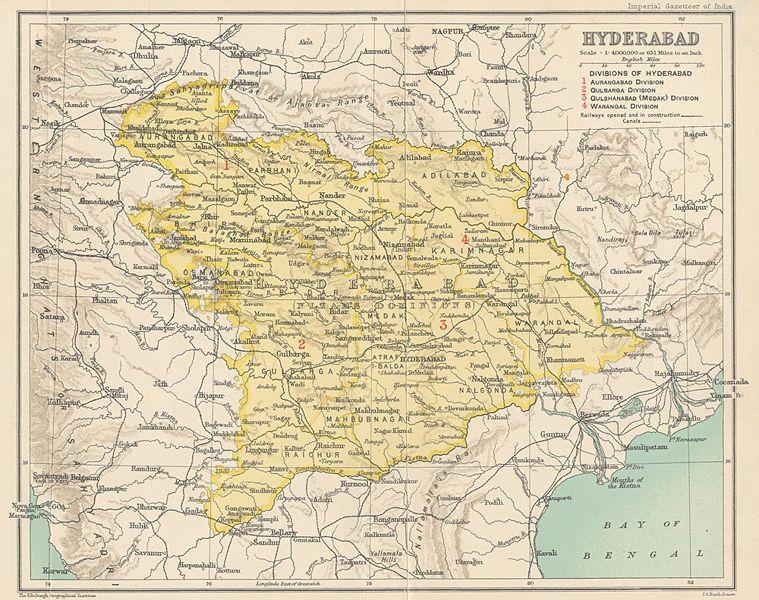 Hyderabad State map. Hyderabad state, Hyderabad, Map