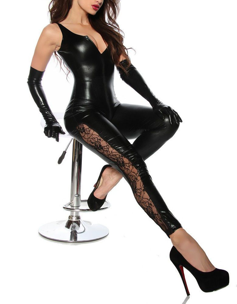 05f12ff57 ... PU Leotard Bodysuit Bar Clubwear. Sexy Women Open Crotch Leather Wet  Look Catsuit Jumpsuit Pvc Steampunk Bodysuit