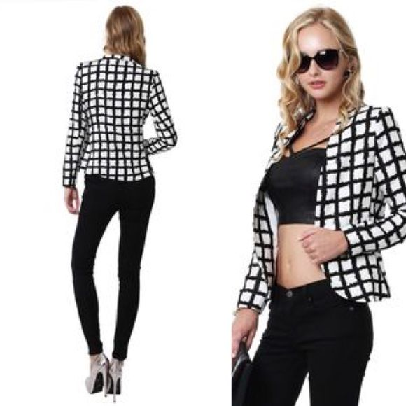 B/W checkered blazer! Trend: Black and White blazer! Great addition to closet for business or to dress up casual wear! Tahari Jackets & Coats Blazers
