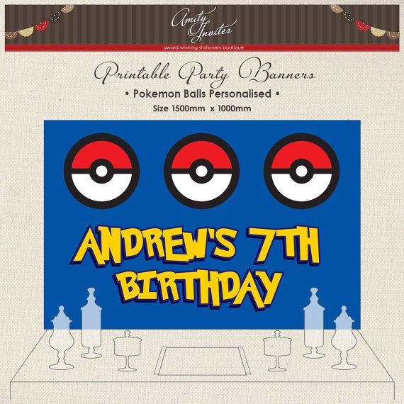 dessert table decoration candy table banner pokemon backdrop printables treat table