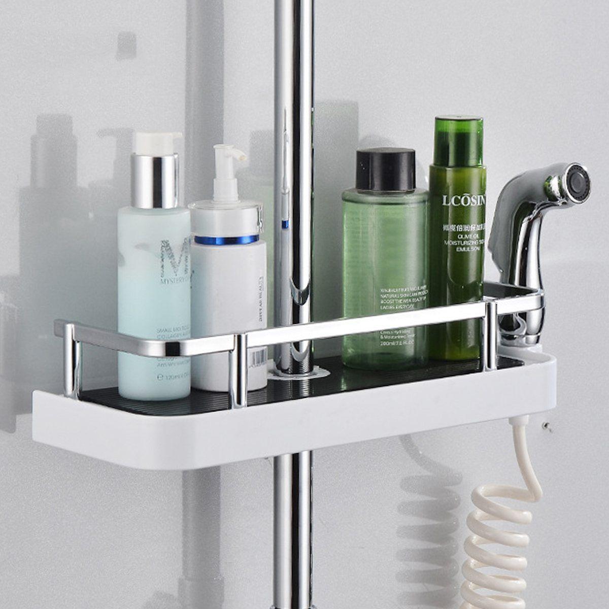 Bathroom Pole Shelf Shower Bath Storage Rack Organiser Hollow Design Tray