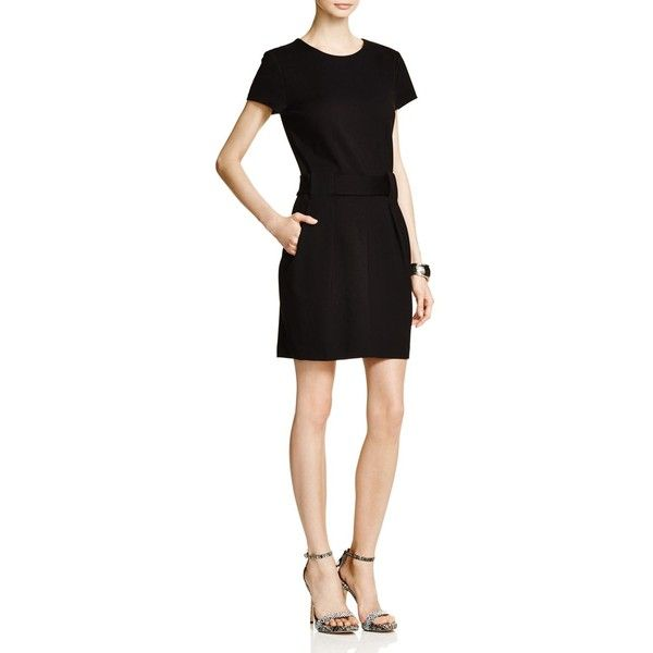 Cynthia Steffe Lana Short Sleeve Belted Dress ($198) ❤ liked on Polyvore featuring dresses, black, lbd dress, black dress, holiday dresses, cynthia steffe dress and short sleeve cocktail dress