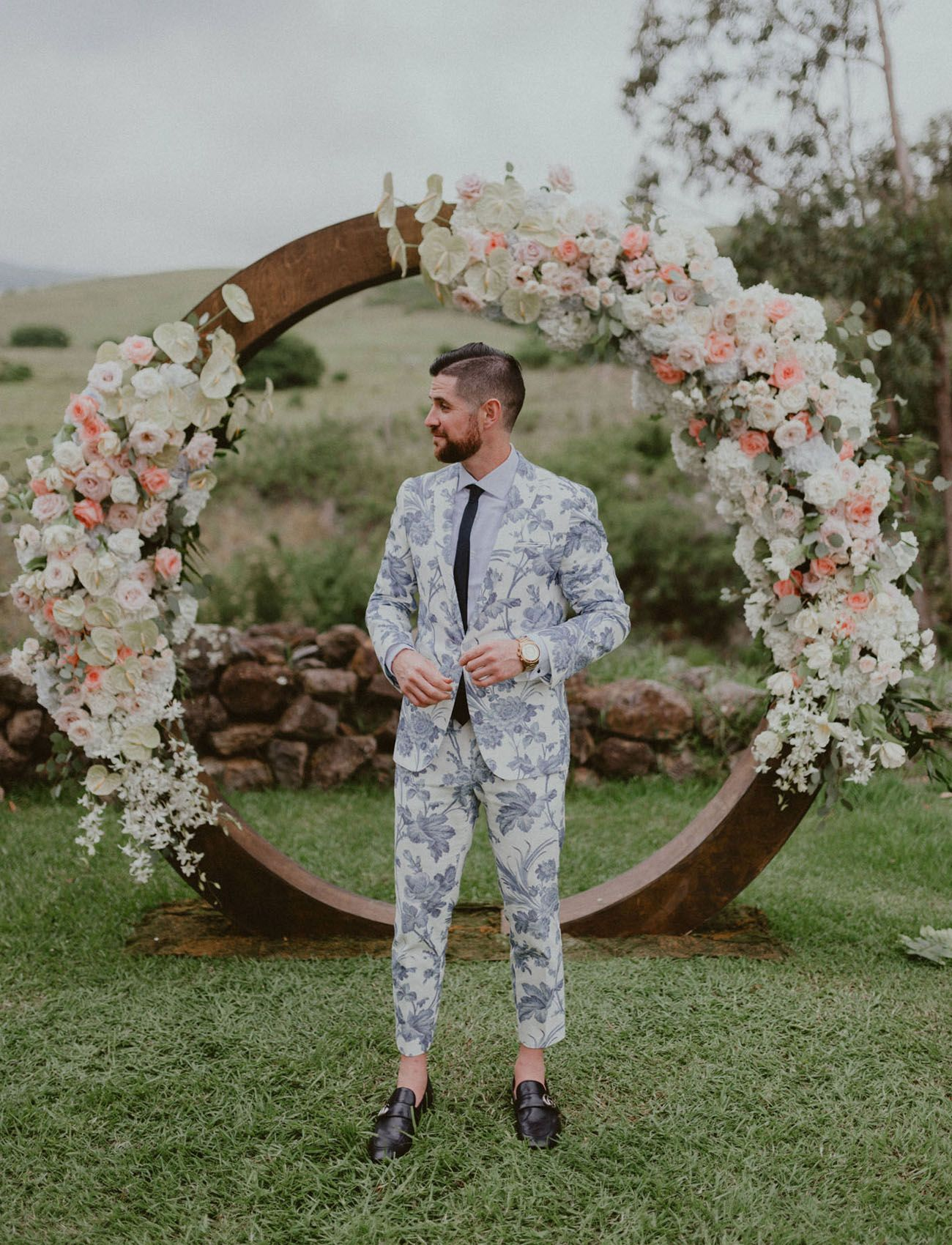 54fc6849127 On Trend  Grooms Rocking Floral Suits — Find Your Fave! - Green Wedding  Shoes    Stylish Groom Suit and Tux Options for the Fashionable Hipster