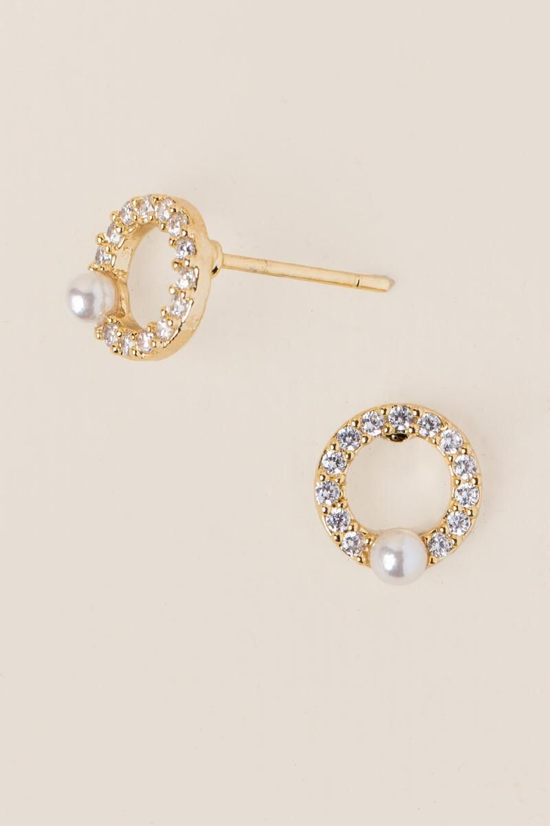 Angelica Pavé Pearl Stud Earring