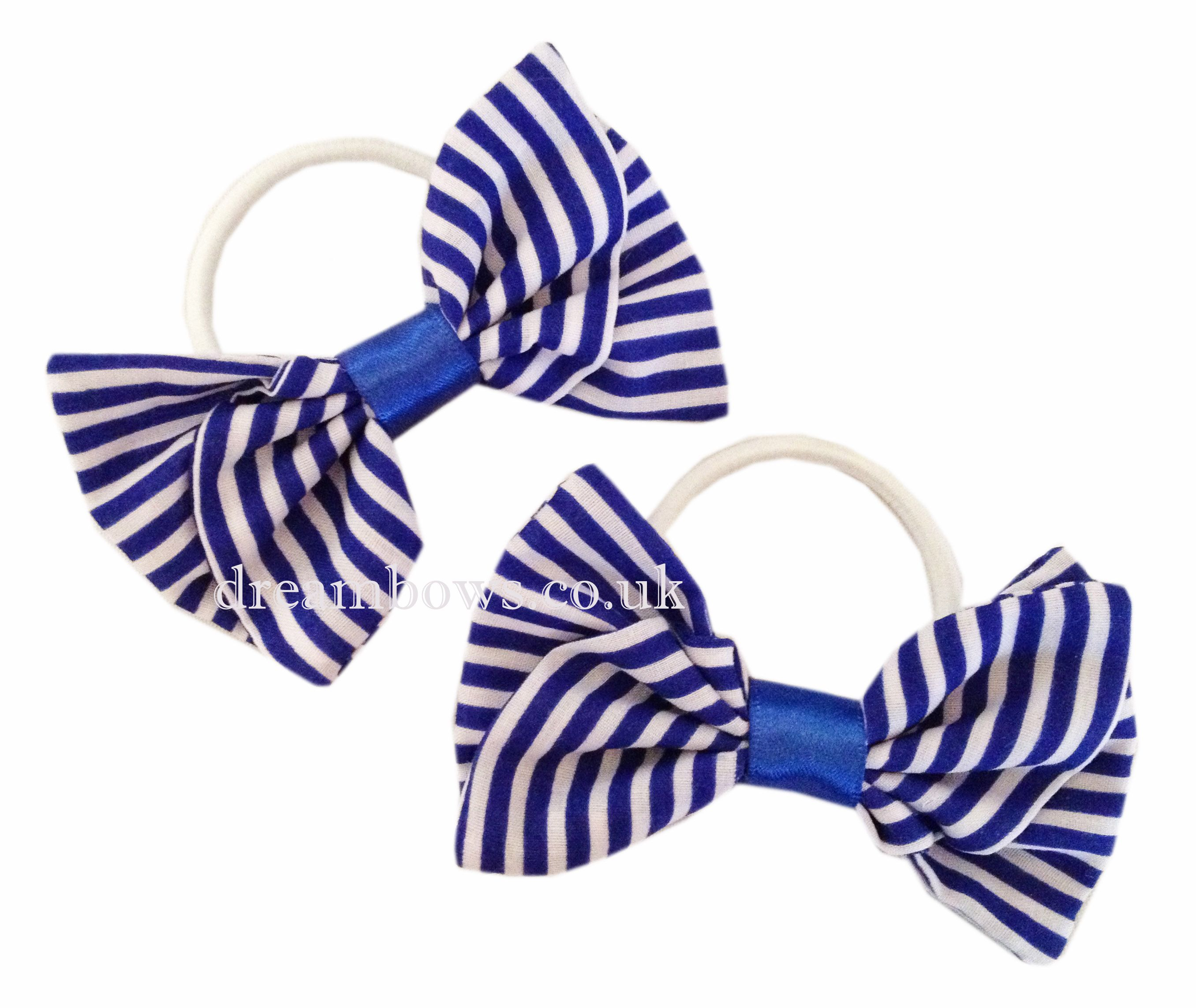 Royal Blue And White Striped Fabric Hair Bows Accessories From Www Dreambows Co