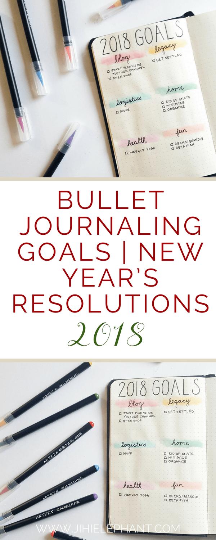 Bullet Journaling Goals   New Year's Resolutions 2018   ElizabethJournals