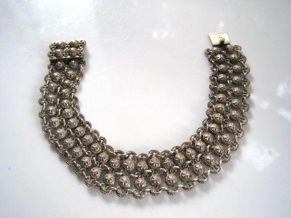 Silver Art Deco Bracelet - European Jewelry - Link Bracelets - Fine French Import - Large Wrist