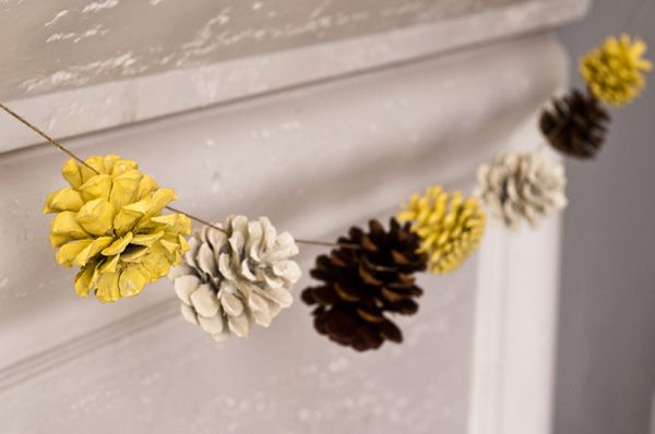 Pine Cone Garland with spray paint.