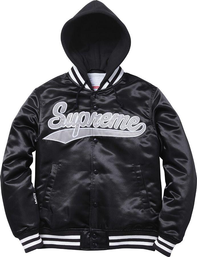 f5af8b4119 Supreme Black Hooded Satin Varsity Jacket