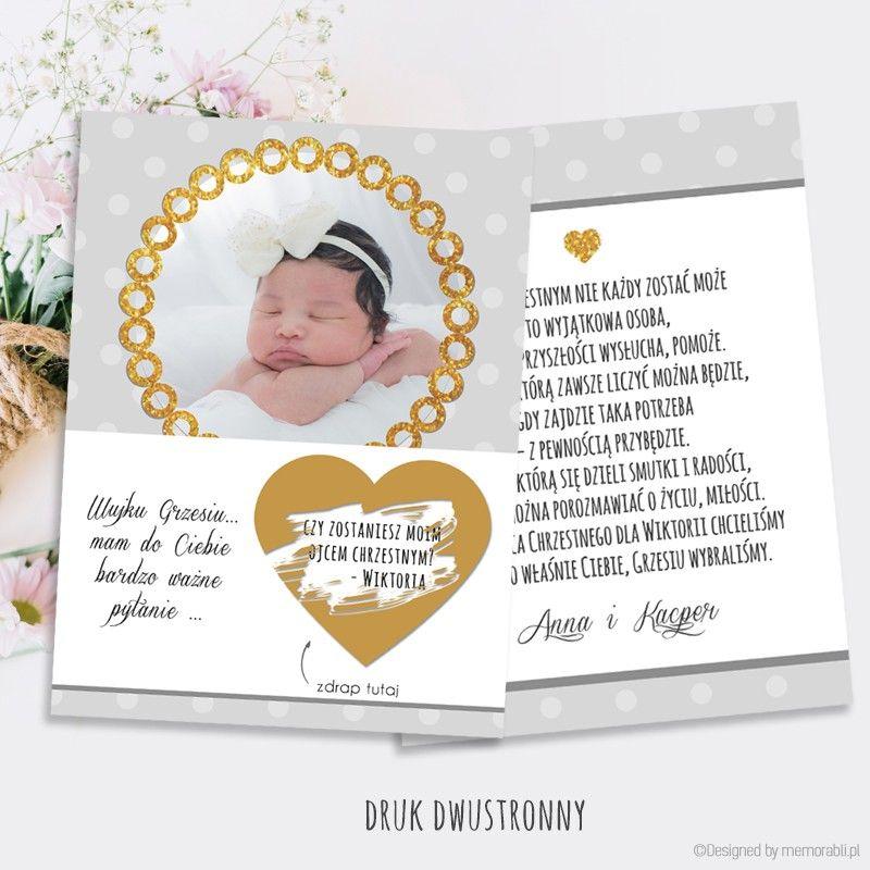 Zostaniesz Rodzicem Chrzestnym Kropki Szare I Zloty Dekor Kartka Zdrapka Makeup Gift Gifts Valentine