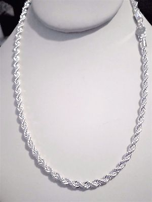 c967ddf08 mens/womens 4mm twisted rope 925 sterling silver chain necklace 18/20/22/24  inch