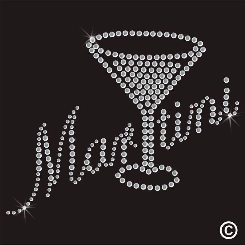 MARTINI BRIDE RHINESTONE IRON ON HOT FIX TRANSFERS,T-SHIRTS,TANK TOP BLING