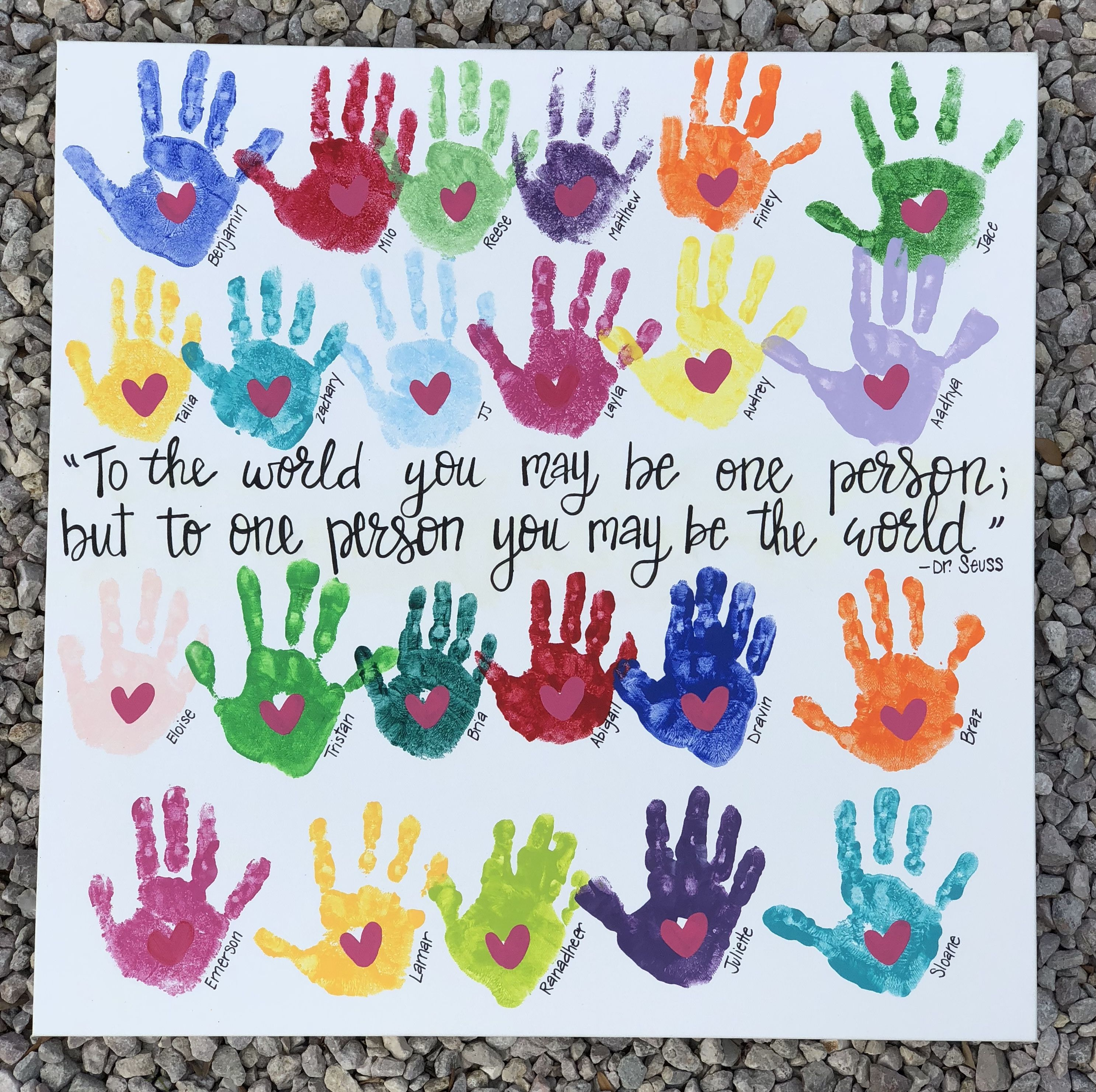 Dr. Seuss handprint canvas. Using students hands in multiple colors to create a …