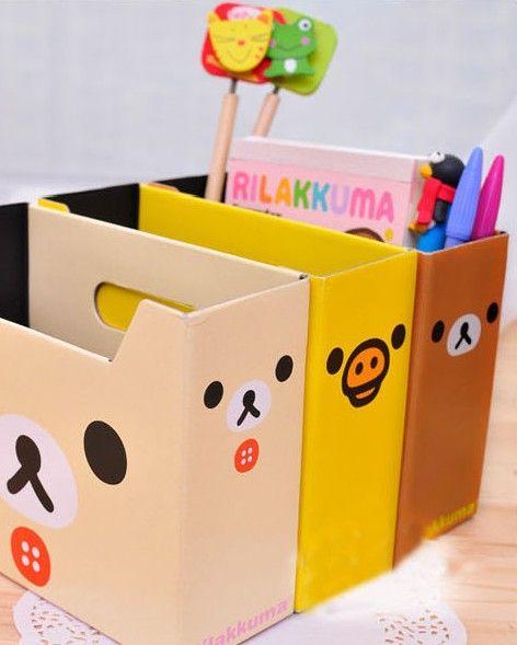 3 Colors Small Rilakkuma Relax Bear Pen,Remote Control Desktop Storage Box