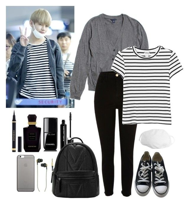 """""""Airport-Fashion (Taehyung Style)"""" by parkjiminie ❤ liked on Polyvore featuring Gap, River Island, Kreafunk, Marc Jacobs, Monki, Converse, Yves Saint Laurent, Keiko Mecheri, Chanel and Native Union"""
